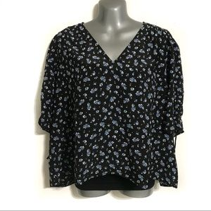 Madewell Women's Floral Pull String Sleeve Top XXL